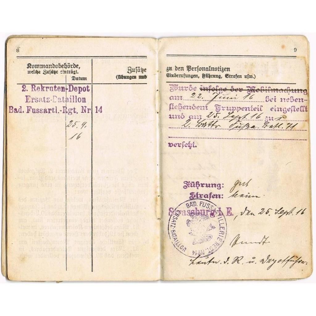 Document militaire en allemand gothique de 1916 Traduit par etranscriptumhellip