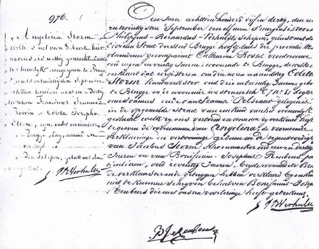 1835  Acte de naissance crit en nerlandais Traduit parhellip