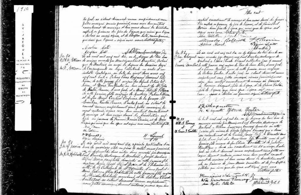 1910  Acte de mariage du Qubec crit en franaishellip